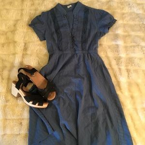 Sweet Blue fit and flare Fossil Dress with bibbing